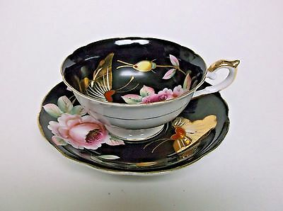 Vintage Cup and Saucer Lenwile China Ardalt Occupied Japan Floral Butterflies