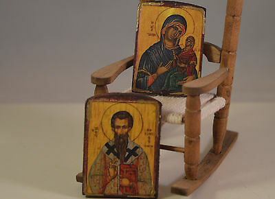 Christian religious miniature  wooden icons perfect for 1/12..1/6 dollhouse,2pcs