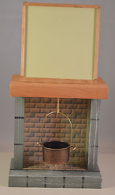 Dollhouse 1/12 miniature vintage wooden fireplace with metal pan+a gift