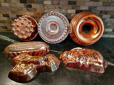 Copper Colored Jello Baking Molds or Wall Hanging Set of 6 Some Aluminum lined
