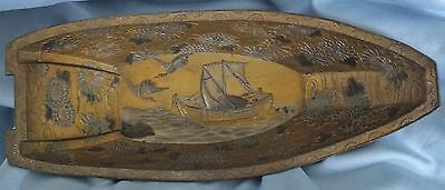 Antique Japanese Bronze Shakudo Meiji Mixed Metal Boat Hull