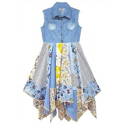 Girls Denim Patchwork Hanky Dress New Kids Sleeveless Party Dresses 3-11 Years