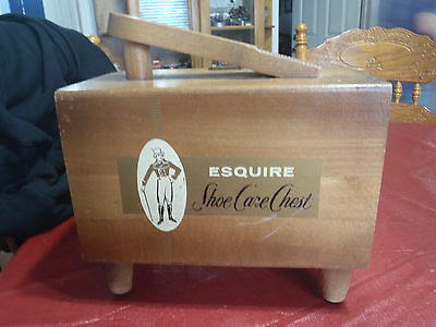 wooden vintage shoe shine stand/box esquire shoe care chest