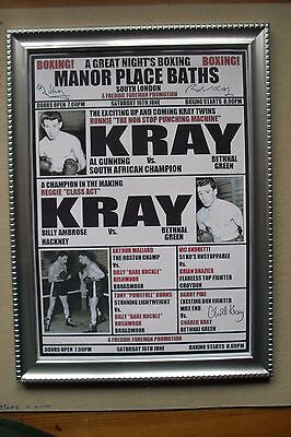 Ronnie and Reggie Kray 1950s Boxing Poster, COPY framed.