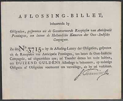 VOC / East Indies Company bond redemption bill for 1000 gulden, approx. 1790