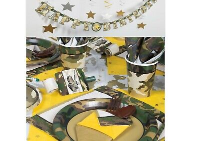 Army Camouflage Military Birthday Party Tableware Supplies Forces Boys Camo