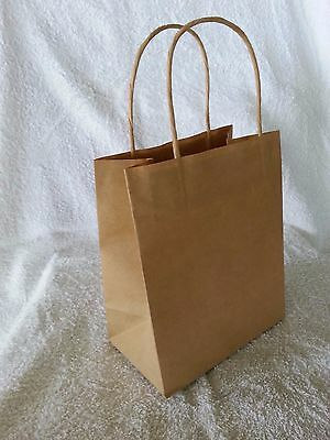 50 x TODDLER Kraft Brown Paper Gift Carry Shopping Bags with handles 200x170x100
