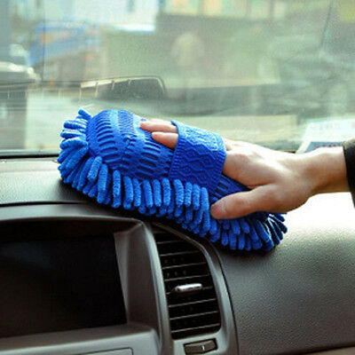 Blue Microfiber chenille Auto Car Washing Wash Mitt Cleaning Glove Brush Durable