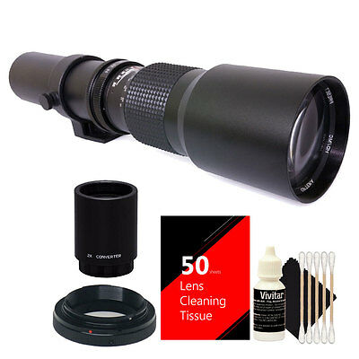 Vivitar 500mm/1000mm f/8 Telephoto Lens for Nikon D4 D3400 D5000 + 2X Converter