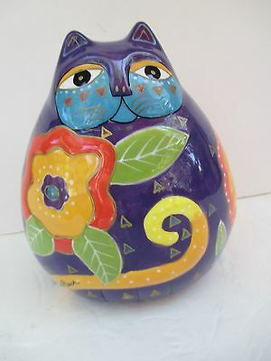 """Laurel Burch Colorful Kitty Cat Flowers Ceramic Piggy Bank Signed 6"""" Tall 4823"""