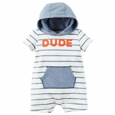 New Baby Boy Carter's Striped Dude Hooded Romper 3 6 9 12 18