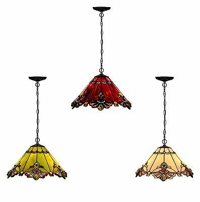 Bieye Tiffany Style Stained Glass 17-inch Mission Hanging Lamp, Multi-colored