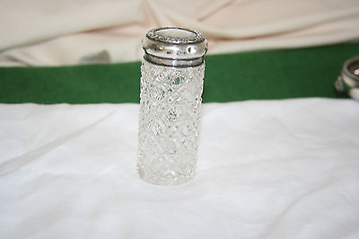 Solid silver topped dressing table jar London 1907 maker J.H & Co