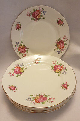 6 x Vintage, Shabby chic Adderley Bone China Side Plates -  Flowers 6,5""
