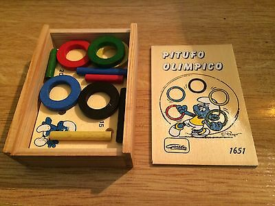 Vintage game box smurf Olympic GOULA wood hand made Spain 11x8cm new old stock