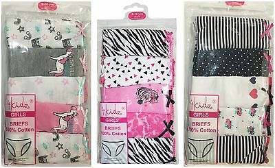 Girls Kids Pack of 5 Comfortabl Brief Cotton Underwear Size Available 2-13 Years