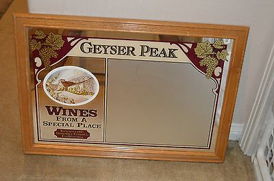 Wine Advertisement Sign Geyer Peak Mirrored Writing Side Vintage Alcohol Decor