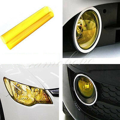 "12"" x 48"" Yellow Gloss Smoke Film Tint Headlight Fog Tail light Vinyl Film"