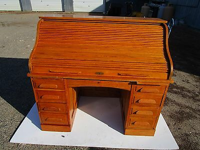 Antique 54 Inch Quartered American Oak  S-Roll Top Desk  Retail Ready