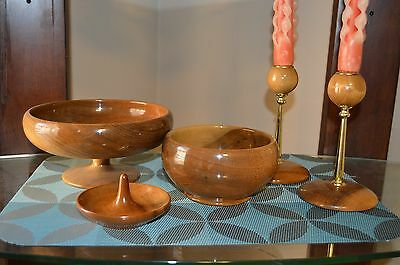 Myrtle Wood Lot 4 Pieces Pedestal Bowl Hand Turned Vintage Coos Bay Oregon