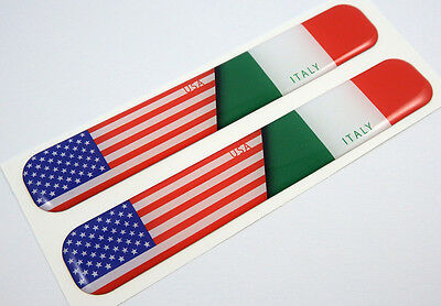 """USA  Italy american Italian Domed Decal Emblem Resin car stickers 5""""x 0.82"""" 2pc."""