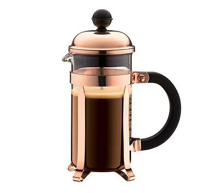 Cup Coffee Plunger Press Bodum French Maker Filter Cafe Glass Copper 350ml 3 Cup