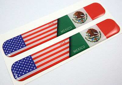 """USA Mexico american mexican Domed Decal Emblem Resin car stickers 5""""x 0.82"""" 2pc."""