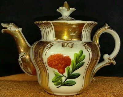 French Hard Paste Porcelain Paris Teapot Hand Painted Flowers Unknown Maker 1820