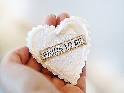 Handmade Vintage Bride To Be Badge- Vintage Hen Party - White Lace