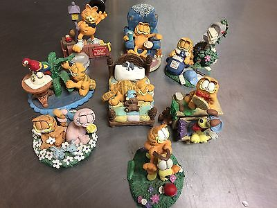 Garfield Figurine's Set Of 8 Danbury Mint Jim Davis
