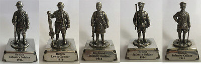 WW1 British Army Military Miniature set of 5 pcs in Fine Pewter