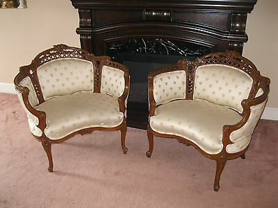 Pair of Vintage Parlor Chairs / Louis XV Style - #00118