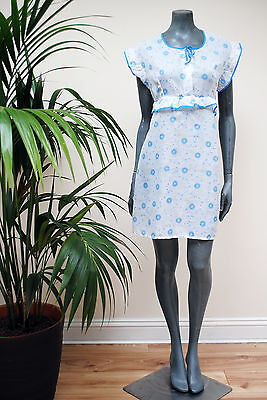 Vintage 1960s Blue White Floral Print Short Frilly Nightie 16