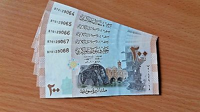 SYRIA / Lot of 5 Notes / 200 Syrian Pounds (2009) / Consecutive numbers / UNC