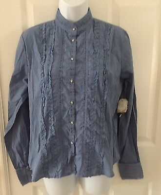 NWT ADOLFO Womens Chambray Blue Button-up Medium SHIRT Ruffles Crystal Buttons
