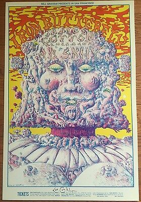 Iron Butterfly James Cotton Signed by Lee Conklin Fillmore Poster BG 157-1