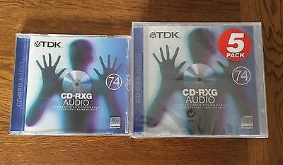 6 x TDK CD-RXG AUDIO 80 RECORDABLE COMPACT DISCS - NEW & SEALED