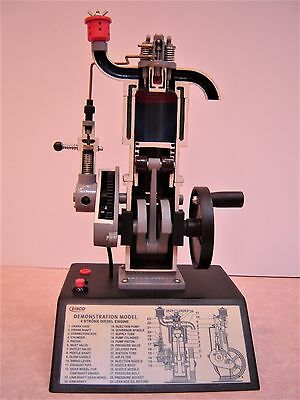 """4 Stroke Diesel Engine Hand Crank Model with Actuating Movable Parts, 16"""" Tall"""