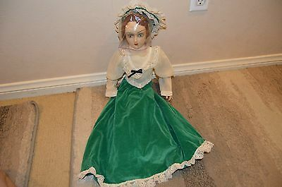 """French Boudoir Doll Flapper Bed 24"""" HTF Rare 1920's Matching Hat Dress Vintage"""