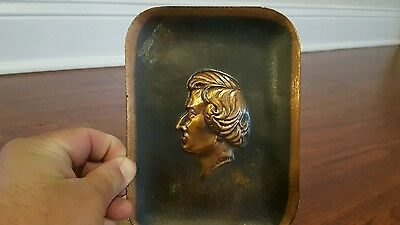 VINTAGE ANTIQUE COPPER PLAQUE with 3D BUST FACE FREDERIC CHOPIN LOOK!