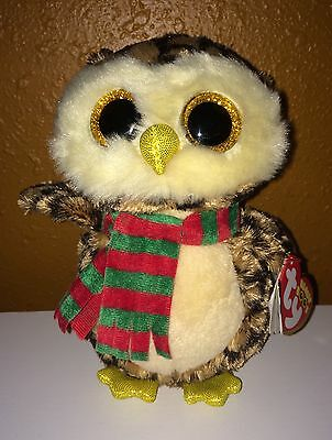 """Ty Beanie Boos Owl Wise Glitter Scarf Stuffed 6"""" Toy Holiday Christmas New"""