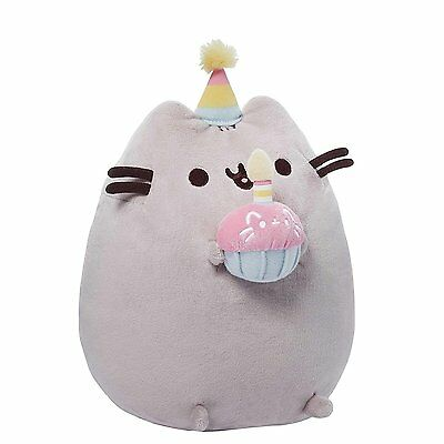 10.5 Inch Gund Happy Birthday Pusheen Plush Cat Grey Tabby Kitty Stuffed Toy