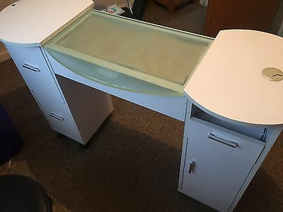 Manicure Table White. Glass Top. Drawers. Cupboard. Ex Condition.