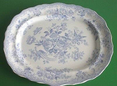Mid Victorian Maling Blue & White 'Asiatic Pheasants' Meat Platter 38cm c.1859