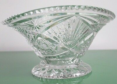 Large Vintage Lead Crystal Elliptical Vase 26cm c.1970