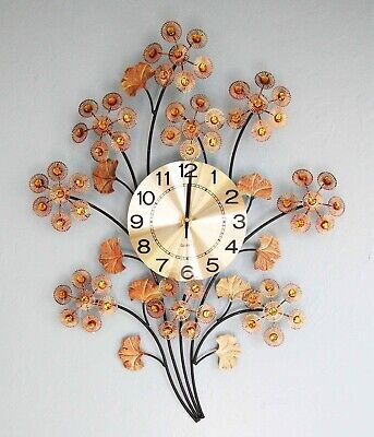 """27.5""""H Metal Made Three of Life With Copper Flowers Style Wall Clock Home Decor"""