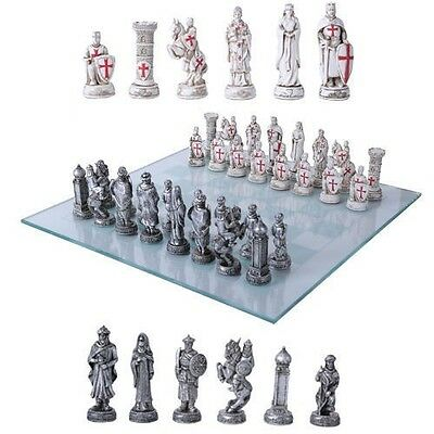 Crusade Christian VS Muslim Empire Chess Pieces With Glass Board Set Collectible