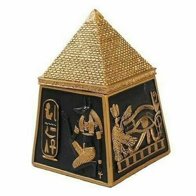 Ancient Egypt Anubis Wedjat Ancient Deity Pyramd Jewelry Trinket Box Collectible