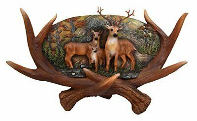"Urban Decor Large Rustic Antlers Scene Deer Buck Doe & Fawn Family Figurine 14""L"