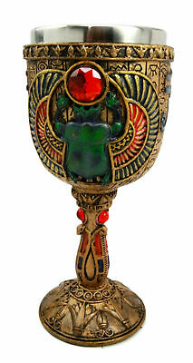 Ancient Egyptian Scarab Amulet 6oz Wine Goblet Chalice Beverage Cup Decorative